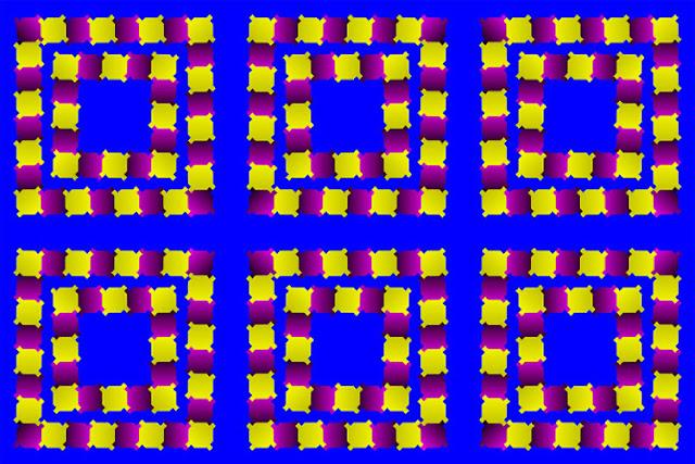 Baktıkça dönüyormuş gibi görünen karelerden oluşan göz yanılması resmi