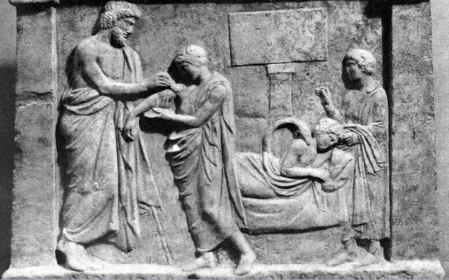 Ο Αμφιάραος ως θεραπευτής. Ανάγλυφο από το Αμφιαράειο του Ωρωπού, περίπου 350 π.Χ. Παριστάνονται τρεις σκηνές. Αριστερά ο Αμφιάραος επιδένει το τραύμα του Αρχίνου. Δεξιά στο βάθος ο Αρχίνος σε εγκοίμηση με τον Αμφιάραο-φίδι να τον επισκέπτεται. Τέλος, ο Αρχίνος προσφέρει αναθηματική στήλη.