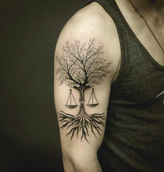 best Libra tattoo design with tree on bicep