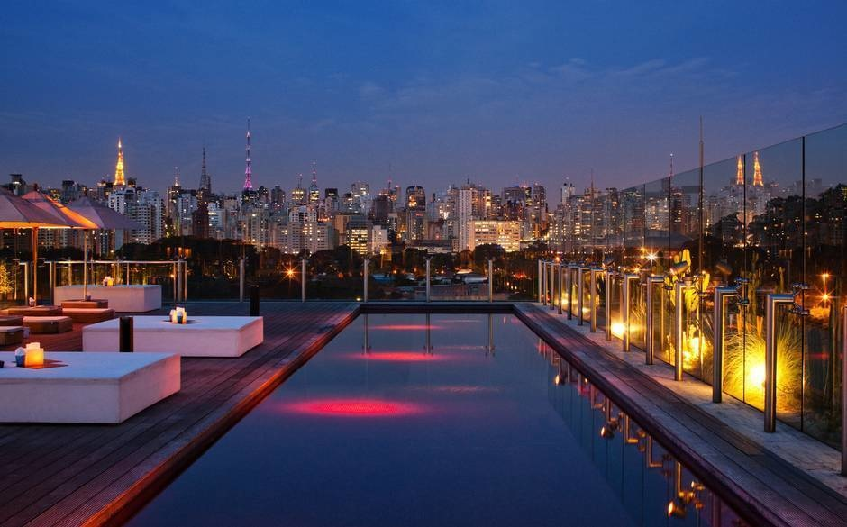 The World's 30 Best Rooftop Bars… Everyone Should Drink At #9 At Least Once. - The Skye Bar Hotel Unique overlooks the gorgeous Jardim Paulista in Sao Paulo, Brazil.