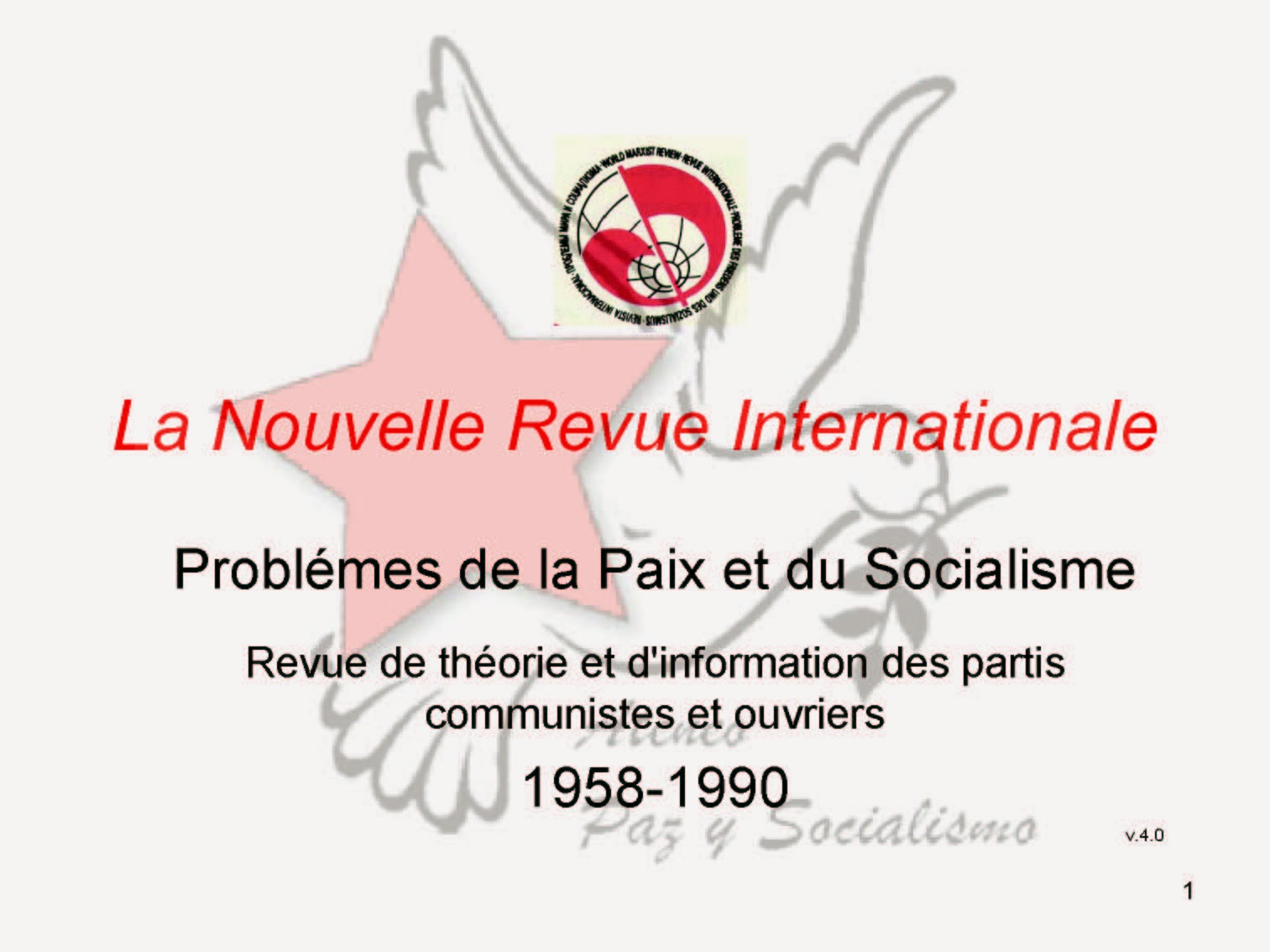 La Nouvelle Revue Internationale 1958-1959