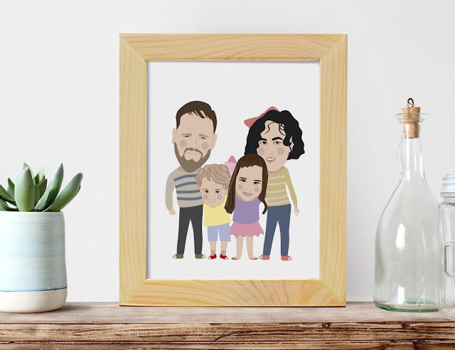 Un divertido dibu retrato de pareja o familia - regalos para decir Te quiero - Dibucos