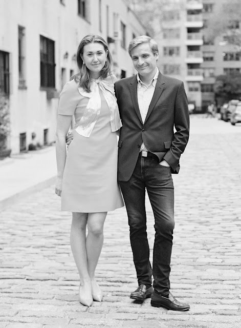 Ted and Liz pose on the street for a Greenwich Village Engagement Portraits