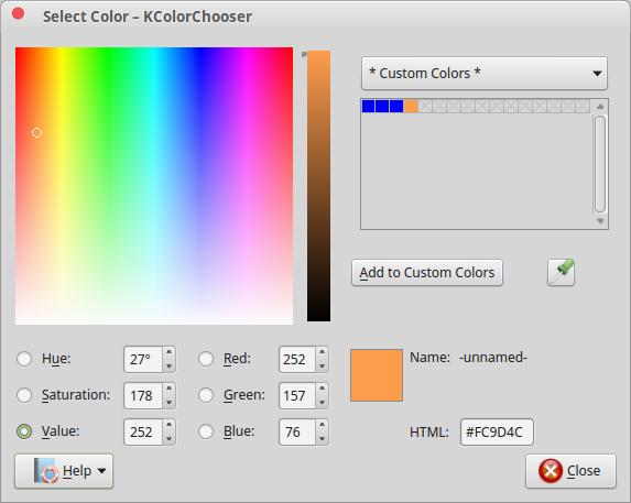 kcolorchooser select color