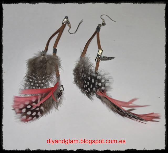 DIY pendientes de plumas