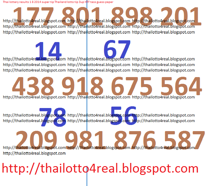 Thailand lottery results 1 8 2014 tip 3up HTF Tass guess paper