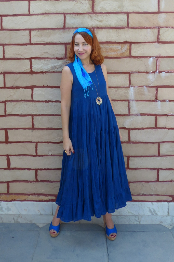 navy blue maxi dress, rhinestone decorated slide wedges, silk headscarf