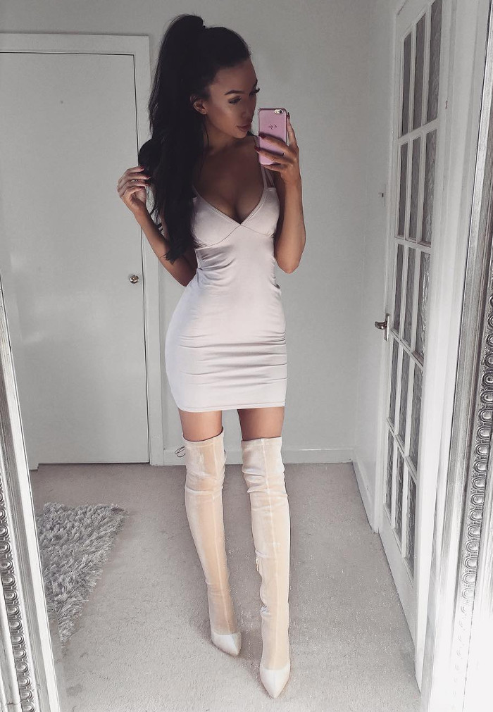 neutral shades heels + dress