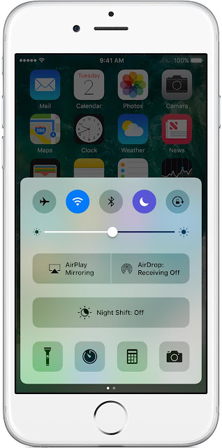 ios10-iphone6-homescreen moon symbol-control-center-do-not-disturb