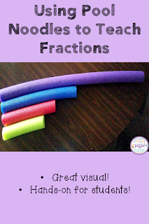 Using math manipulatives helps students to better understand different concepts. Fractions are a particularly difficult concept to teach. This blog post shares how to use pool noodles to create a set of manipulatives to better teach your students how to understand fractions. This is especially useful in helping students visualize different denominators. #confessionsofafrazzledteacher #fractions #handsonmanipulatives {Second, Third, Fourth, and Fifth Grade Students}