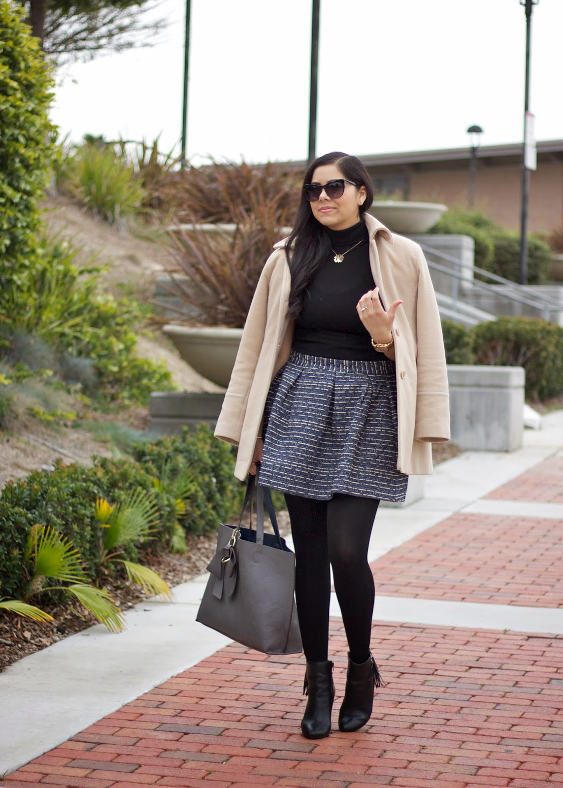girly chic outfit, outfit with tights, opaque tights, winter chic, san diego street style, playful look, gray purse