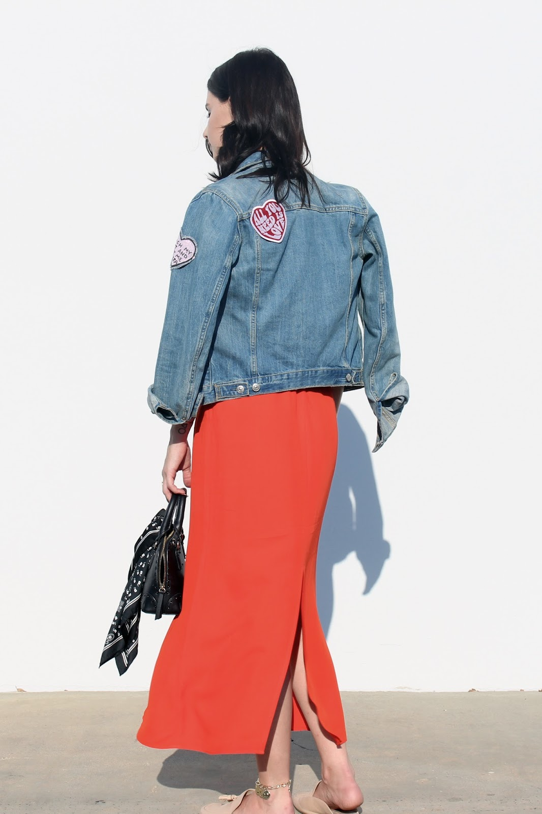 midi skirt, patchwork denim, loafers, orange skirt