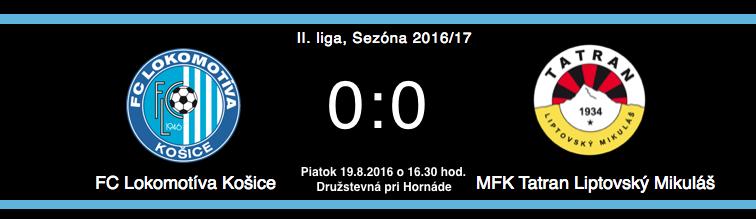 c912698d7dede II. liga | Sezóna 2016/17 | FC Lokomotíva Košice - MFK Tatran Liptovský  Mikuláš 0:0