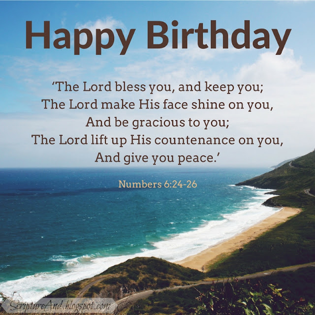 Happy Birthday with Numbers 6:24-26 and a beach | scriptureand.blogspot.com