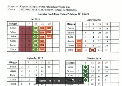 Kalender Pendidikan 2019/2020 Bali