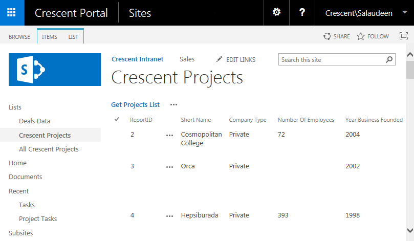 SharePoint 2016 External List