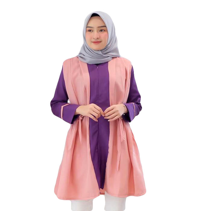 Dress Tunik Atasan Wanita Minimalis - Ungu-Dusty