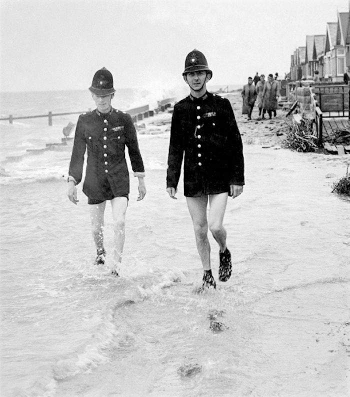 British police patrolling the beach without pants. Police Aesthetics. marchmatron.com