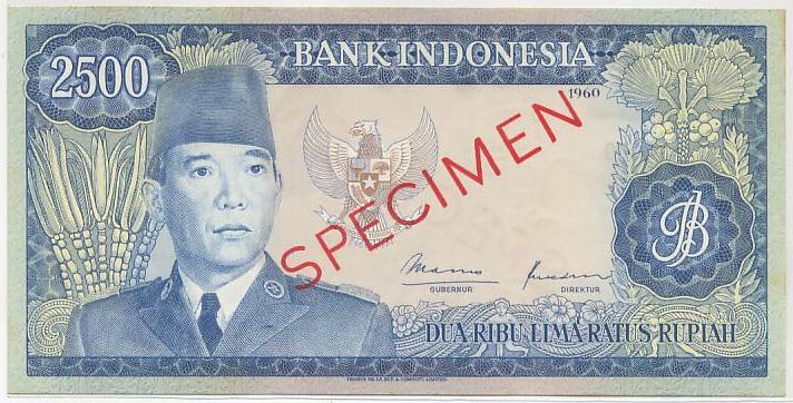 uang 2500 rupiah soekarno 1965 depan