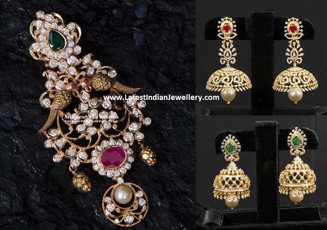 Gorgeous Diamond Pendant Jhumkas