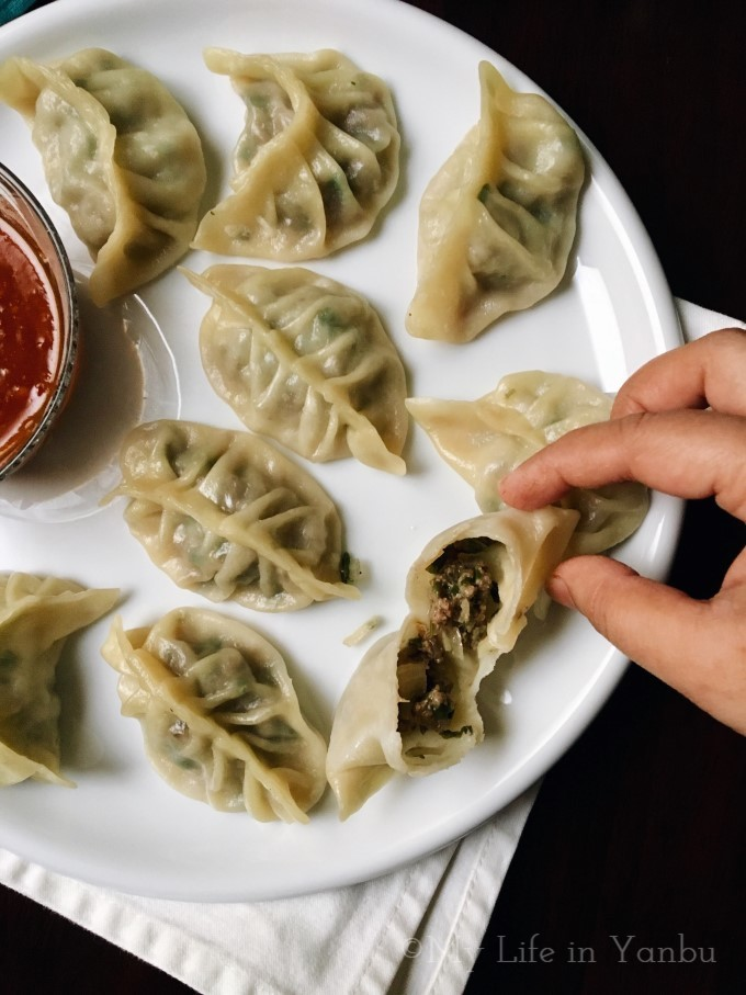 Meat Momos with Sweet Chilli Sauce