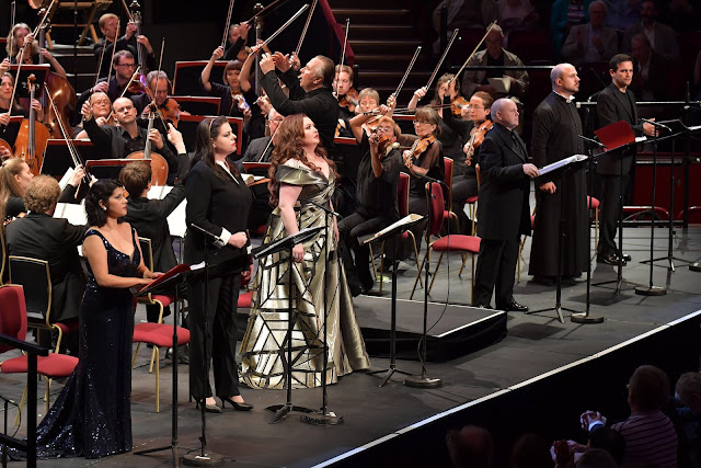 Rossini Semiramide at the Proms - Susana Gaspar, Daniela Barcellona,  Albina Shagimuratova, Barry Banks, Gianluca Buratto, Mirco Palazzi,  Orchestra of the Age of Enlightenment, Mark Elder - photo Chris Christodoulou