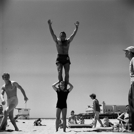 12 year old strong girl at muscle beach 1954 vintage