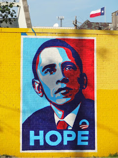 Obama HOPE Mural with Texas flag in background