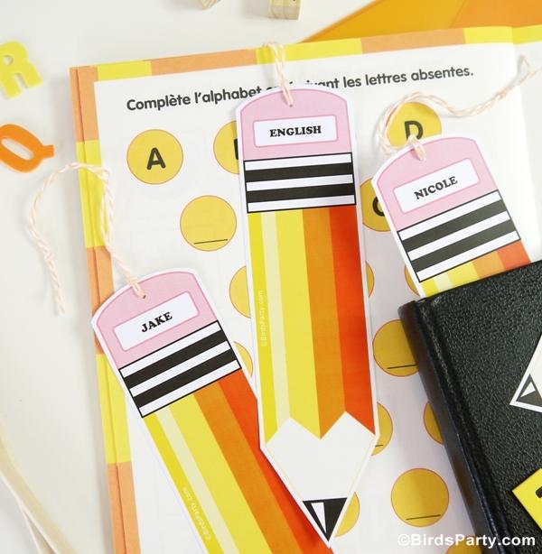 Back to School Free Printable Pencil Bookmarks - BirdsParty.com