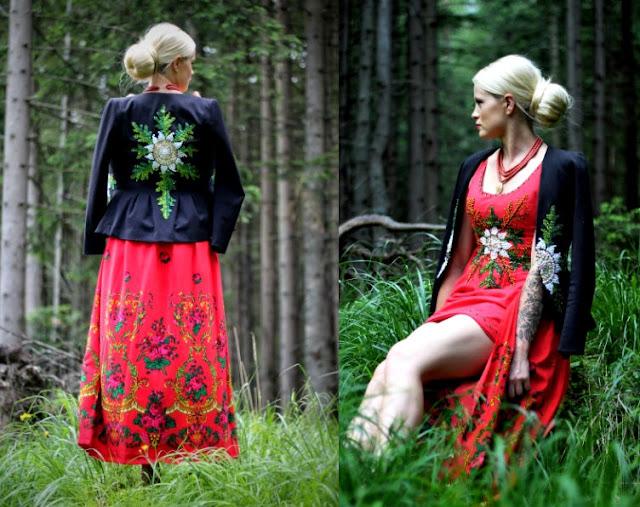 Czarny żakiet z baskinką i wyszywaną szarotką (dziewięćsiłem), czyli góralska katanka w nowoczesnym stylu.