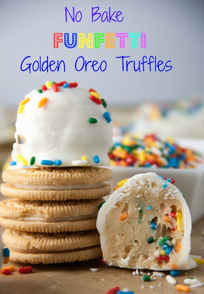 NO BAKE FUNFETTI GOLDEN OREO TRUFFLES #Nobake #Bakefood #Funfetti #Golden #Oreo #Truffles #Cookies #cookiesrecipe #Bestcookies