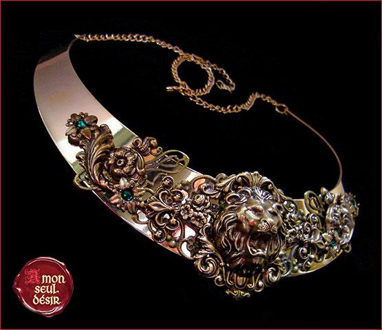 collier lion leo médiéval renaissance cersei lannister torque bijoux moyen age renaissance fair jewelry necklace torc gold bronze