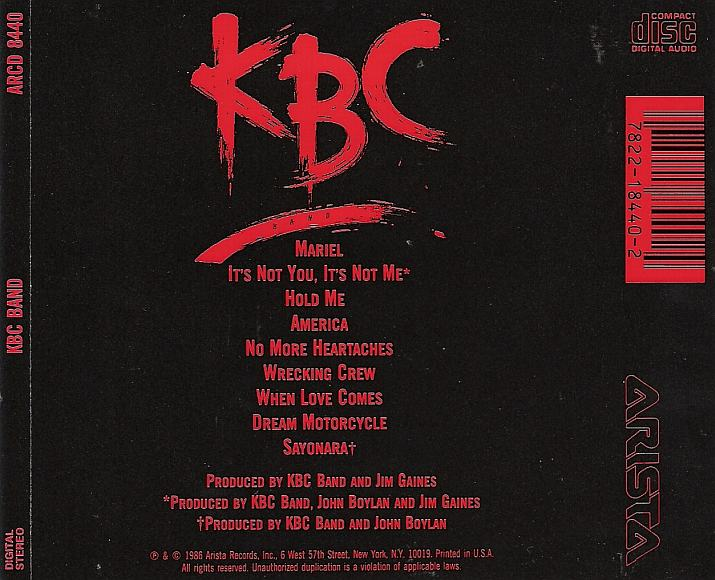 KBC Band - KBC Band (1986) back