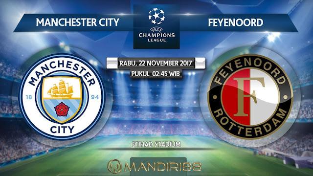 Manchester City akan menjamu Feyenoord di Etihad Stadium pada Matchday Berita Terhangat Prediksi Bola : Manchester City Vs Feyenoord , Rabu 22 November 2017 Pukul 02.45 WIB