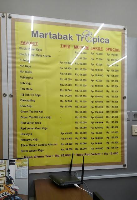 Daftar harga martabak tropica