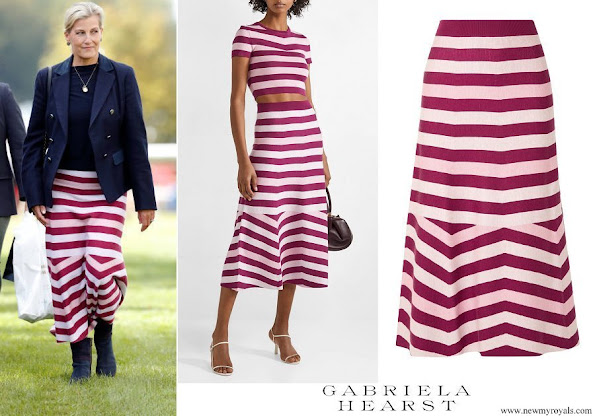 The Countess of Wessex wore GABRIELA HEARST striped wool and cashmere-blend midi skirt