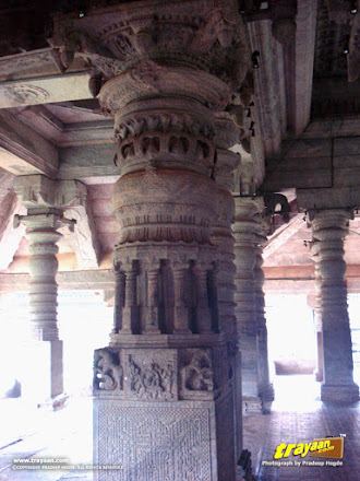 Finely carved pillar in the Bhairadevi Mantapa of the Thousand Pillared Jain Temple in Moodabidri, near Mangalore, Karnataka, India - called as Tribhuvana Tilaka Chudamani basadi or Chandranatha basadi, also known as Saavira Kambada Basadi