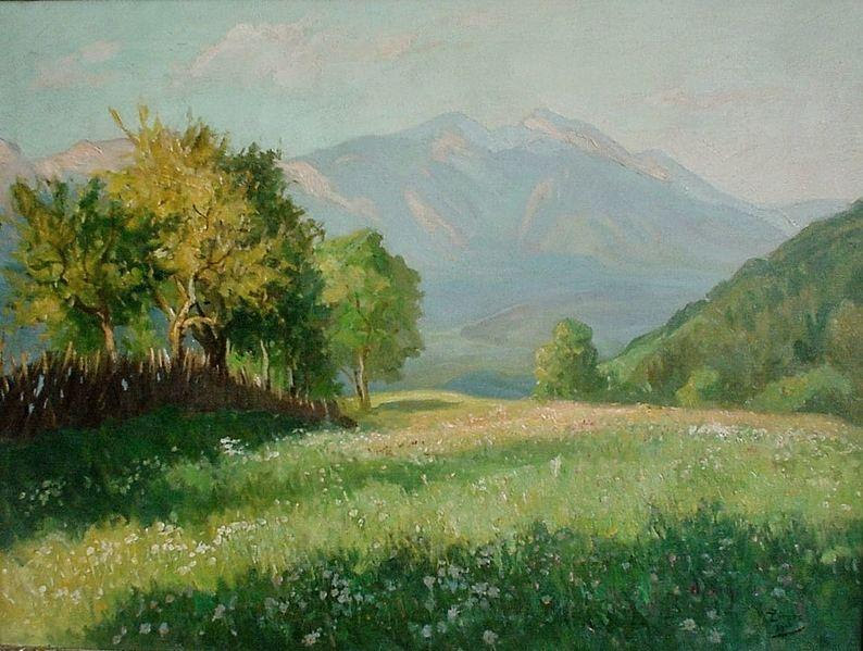 Flower meadow, trees, and view of the Alps