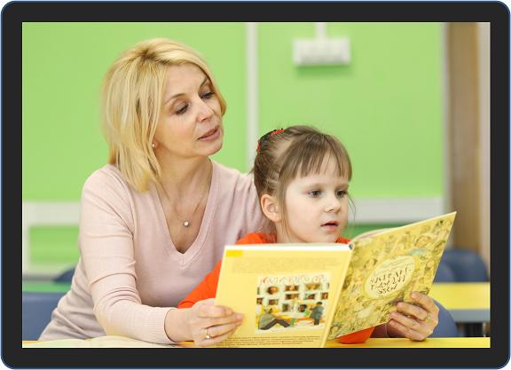 criança aprendendo a ler