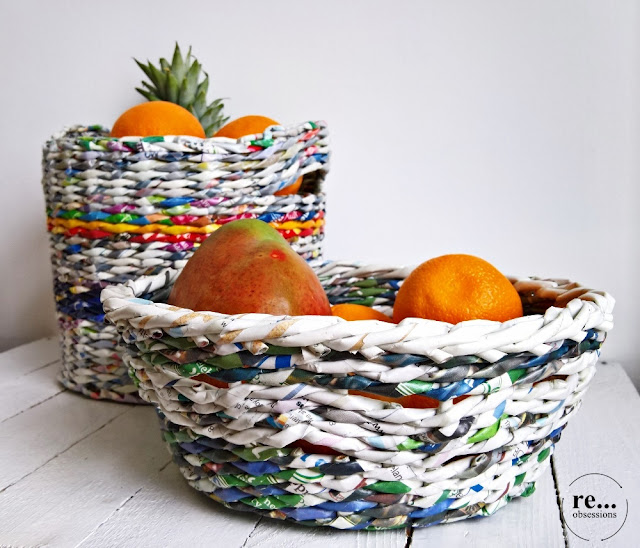 newspaper weaving, wicker paper, paper, basket, recycle, papierowa wiklina, koszyk