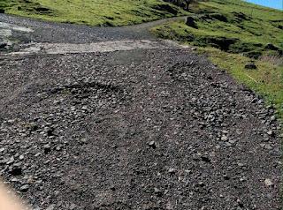Mal estado carretera a Montaña Fagajesto, Gáldar, Gran Canaria