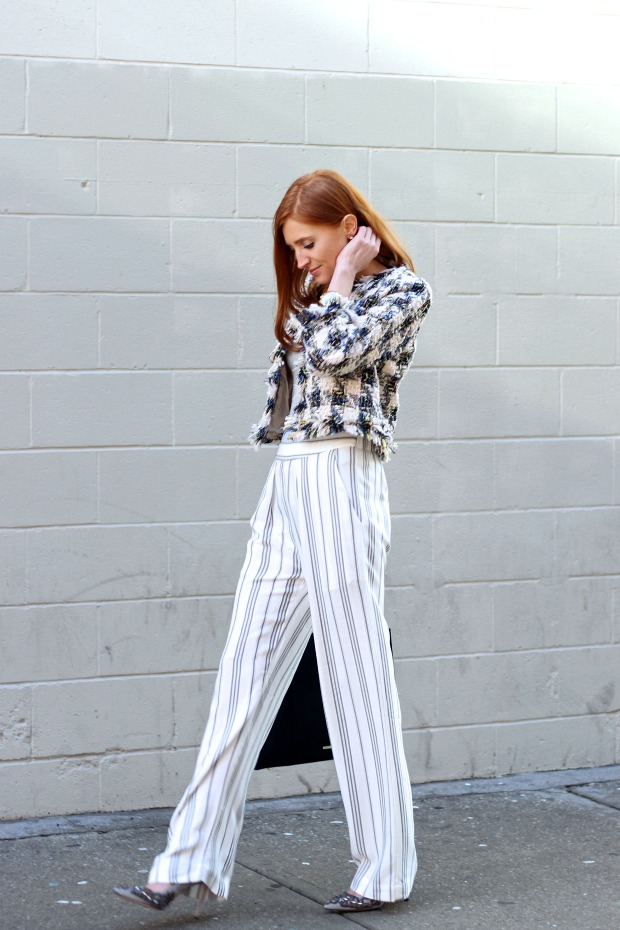 wide leg striped pants, chanel inspired coat, Spring style