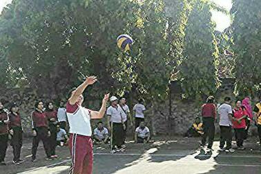 Pertandingan bola volly di Polres Asahan.
