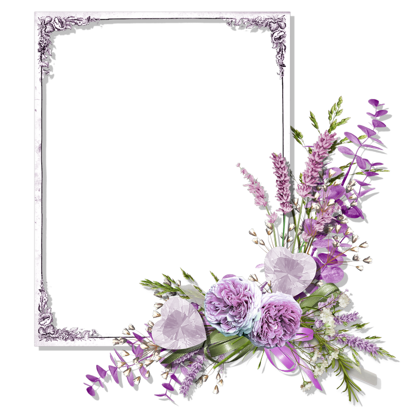 Forgetmenot purple roses frames for Cadre floral mural