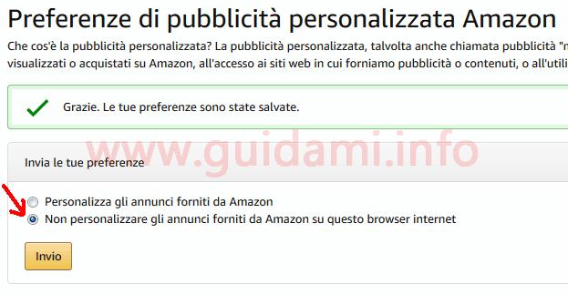Amazon disattivare pubblicità personalizzata