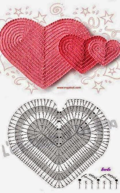 Patrón de corazón tejido con gancillo