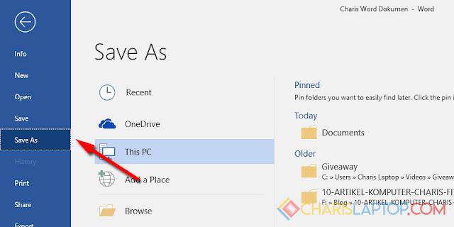 Menyimpan Dokumen Microsoft Word