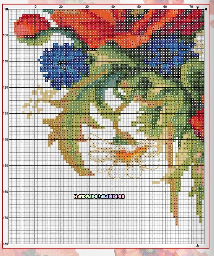 Вышивка. Букет полевых цветов с васильками, ромашками и маками (3)
