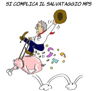 padoan, MPS, BCE, economia, miliardi, monte dei paschi, vignetta, satira