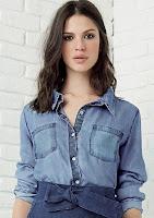 Moda Camisa Jeans Com Bolsos Frontais Dzarm
